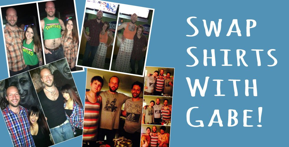 Swap shirts with Stand up Comedian after his stand up comedy performances! See how to have your picture of performing a shirt swap with stand up comedian Gabe Kea!