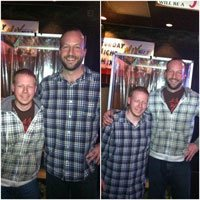 Stand up comedian Gabe Kea performing a shirt swap with a fan after the show!